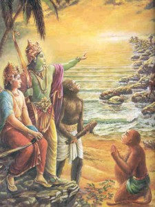 Ramanavami: Expression of a Divine Hope-Lord-Rama-instructs-the-monky-solders-how-to-build-the-bridge-to-Lanka-with-laksmana--570x1000
