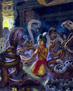 Appearance of Lord Narasimha-Prahlada snakes
