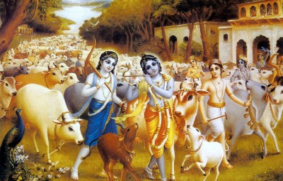 Krishna-and-Balarama-play-as-cow-herds-boys-in-Vrindavan-and-enjoy-loving-pastimes-with-their-devotees