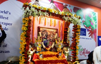 Flower decorated altar on holi milan samaroh at noida