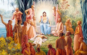 Nityananda put his feet to Radhunatha Dasa