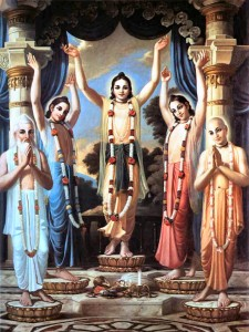 In Pancha tattva to the left of Mahaprabhu is Gadadhara Pandita.